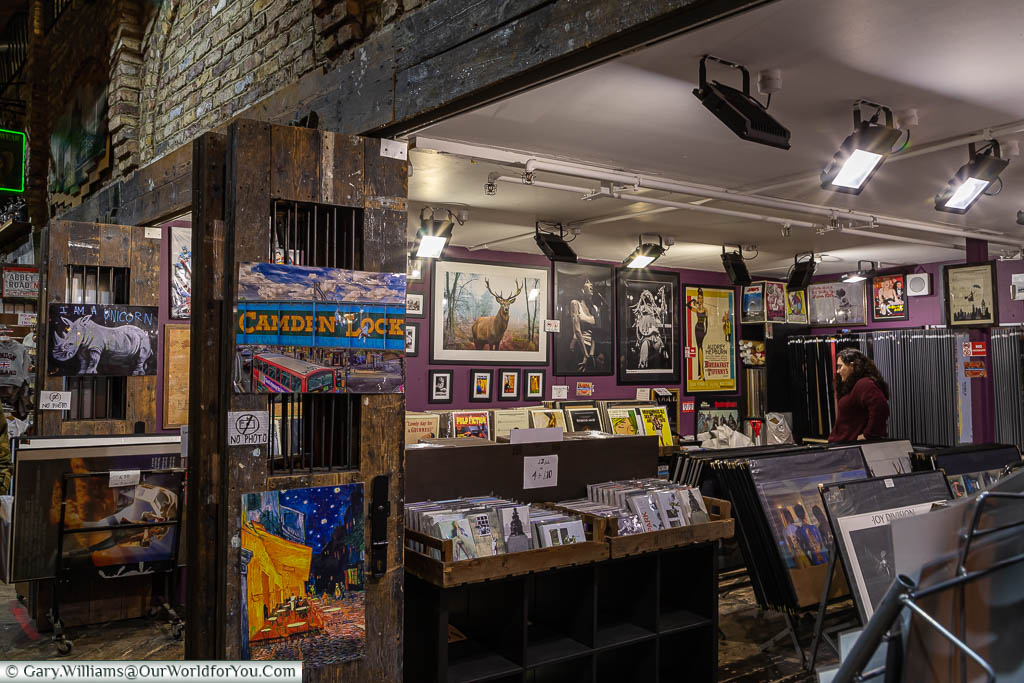 A print store in Camden Market selling an eclectic mix of posters in all sizes.