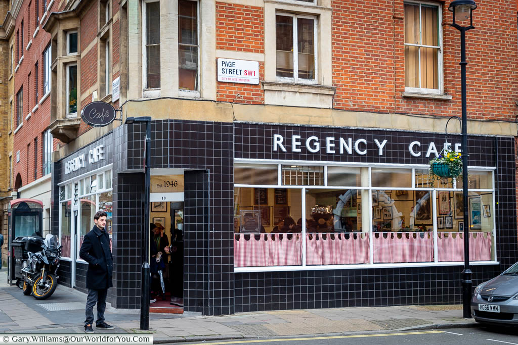 The art deco styled Regency Café on Page Street, Westminster.  This no-frills café has featured in a movie or two.