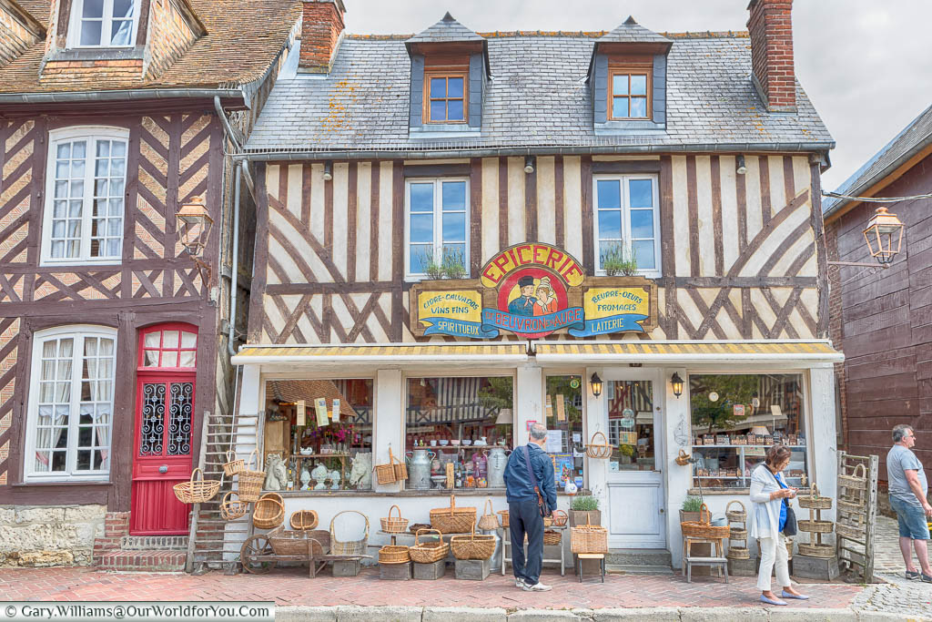 A traditional epicerie, or grocer's shop, in Beuvron-en-Auge selling produce from the Normandy Region.