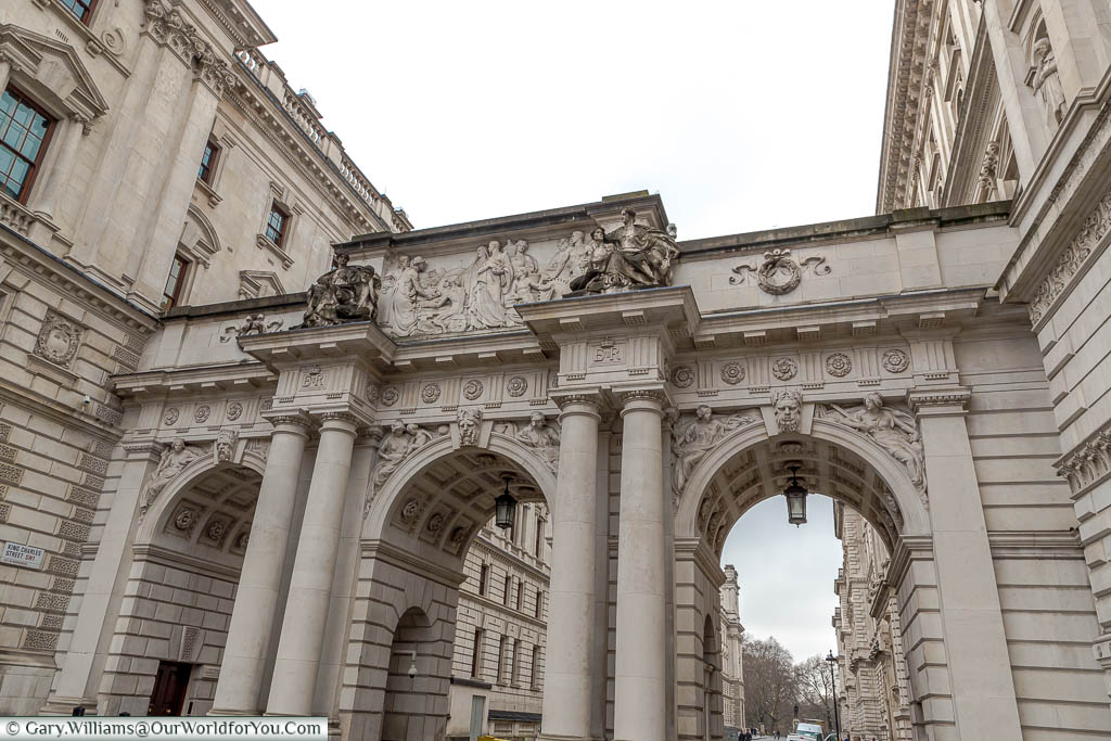 The beautiful detail around Whitehall includes a three-arched bridge over King Charles Street, which is flanked on either side by buildings of state.