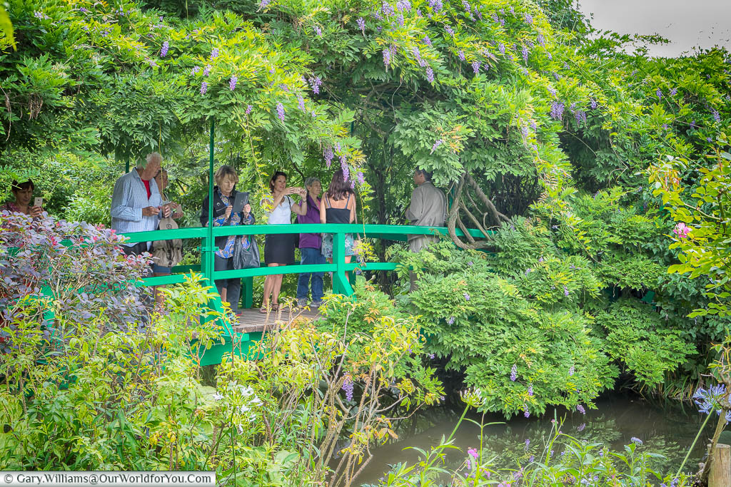 People flock to the wisteria-covered green bridge across the lily ponds in Claude Monet's gardens in Giverny, Normandy