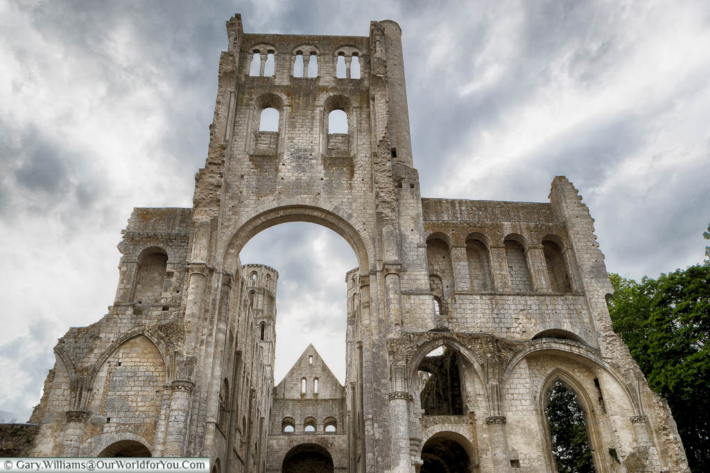 The view from the transept towards the entrance of the ruins of the Jumieges Abbey.