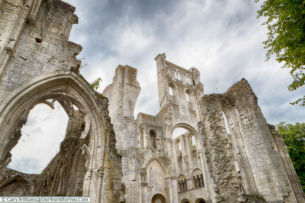 Looking up at the remains of Jumieges Abbey in Normandy.