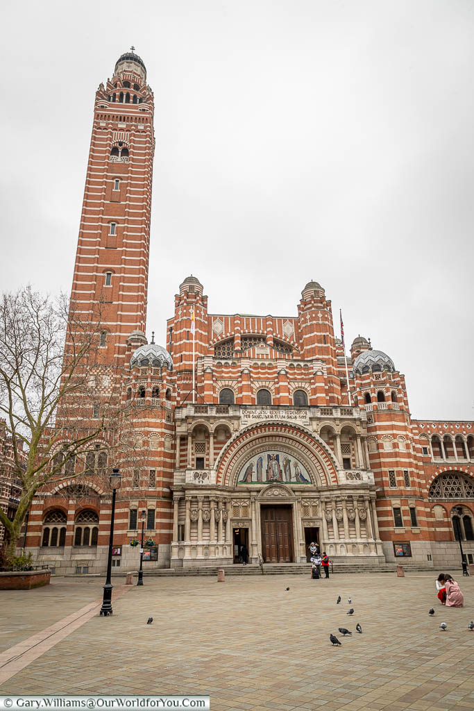 The red brick and white stone of neo-byzantine styled Westminster Cathedral from Cathedral Plaza