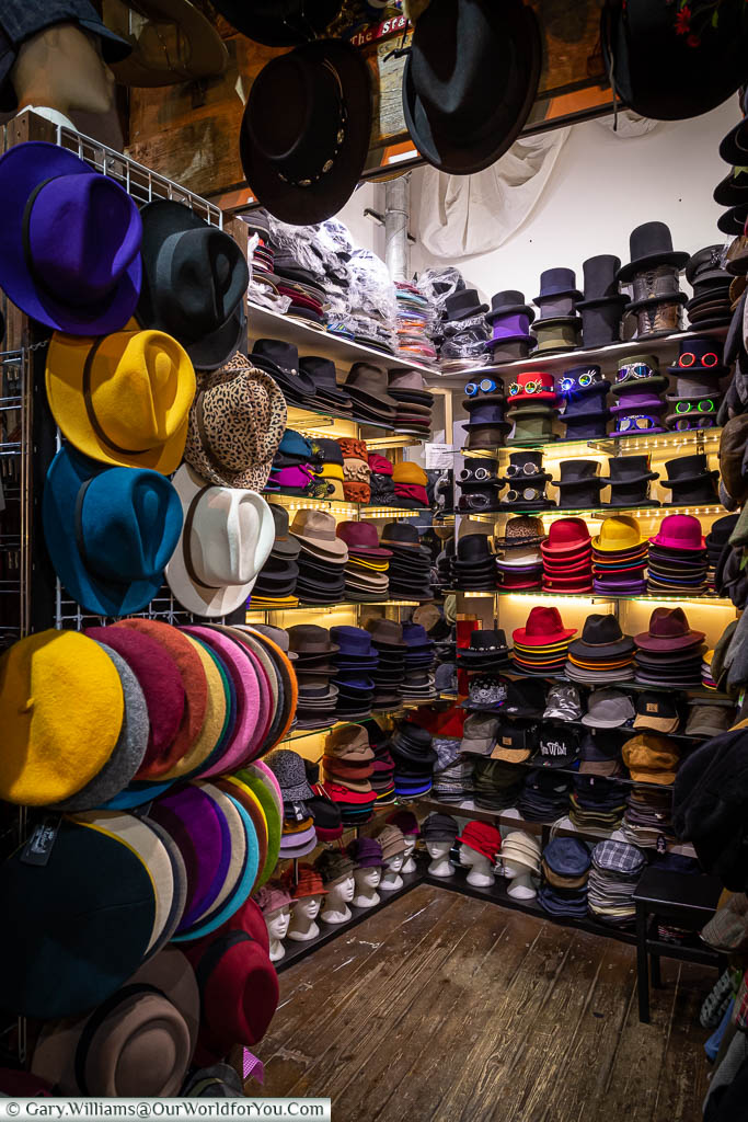 A hat store in Camden Market selling the more extravagant designs in bold and vibrant colours.