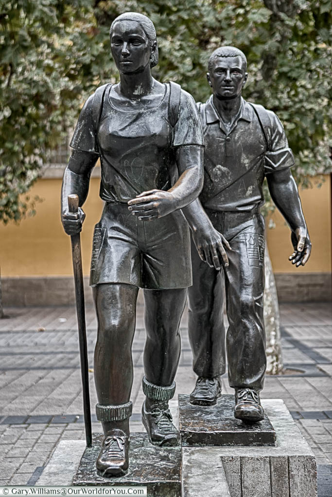 A bronze statue, in Logroño, Spain, to two hikers on the Camino de Santiago.