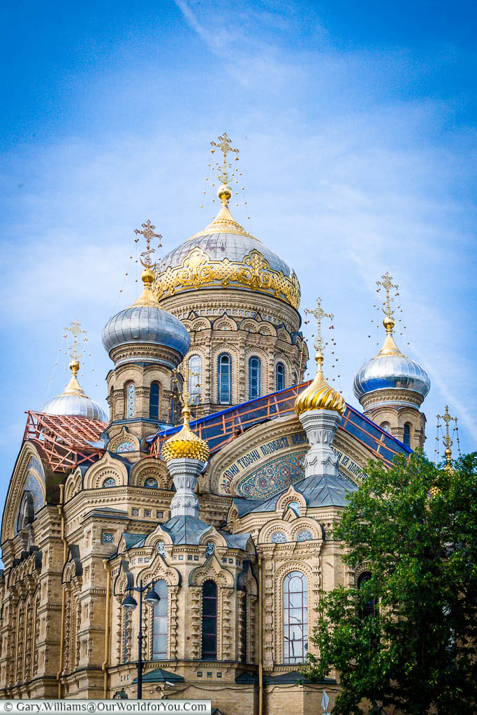 The recently restored, highly decorated, Cathedral of the Assumption of the Blessed Virgin Mary in Saint Petersburg, Russia