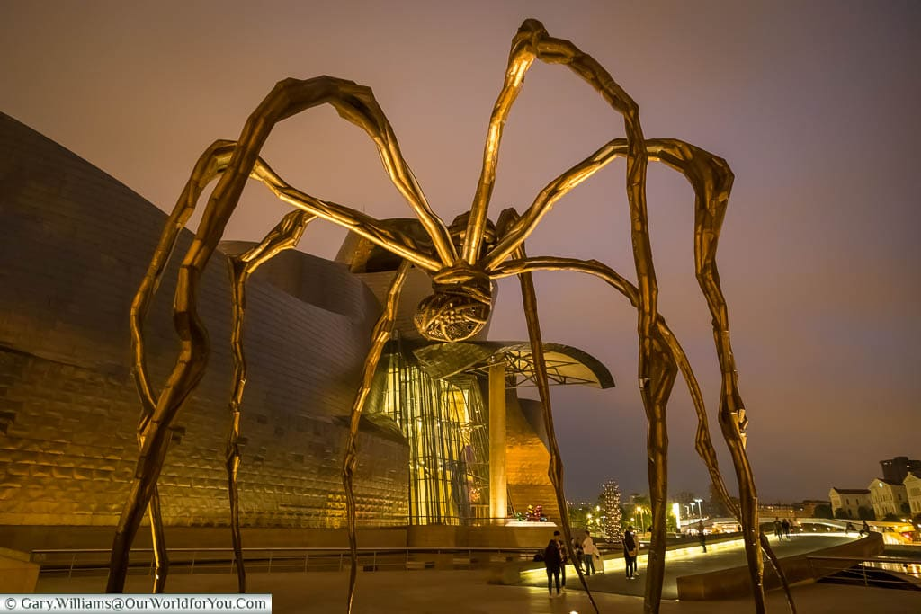 One of Louise Bourgeois's Maman Sculptures of a giant spider outside the Guggenheim museum in Bilbao, Spain