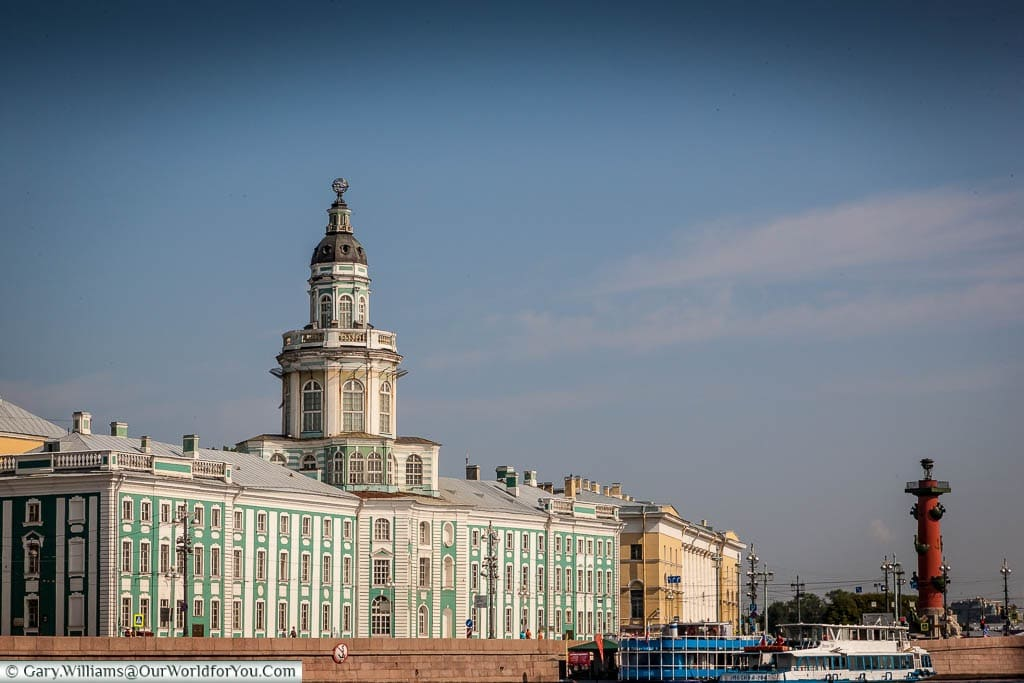 The Kunstkammer from the river with the Rostrum in the distance, Saint Petersburg, Russia