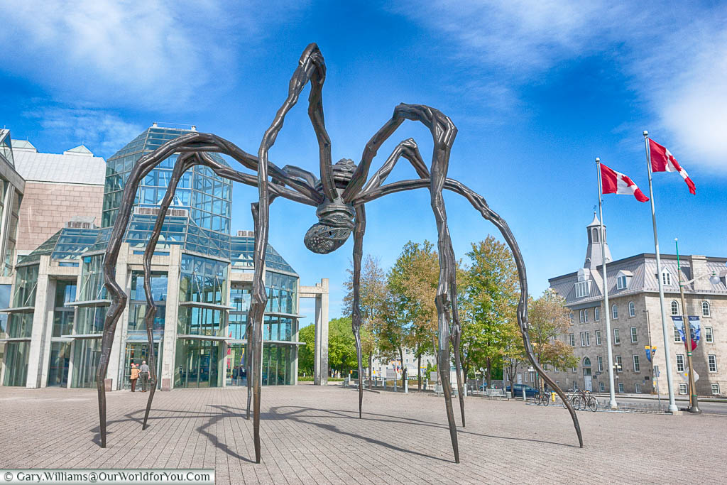 One of Louise Bourgeois's Maman Sculptures of a giant spider outside the National Gallery of Canada in Ottawa, Canada