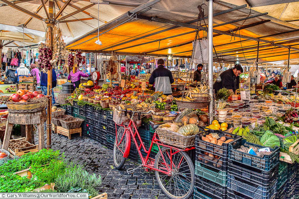 The packed food market in Piazza Campo de' Fiori, Rome, Italy