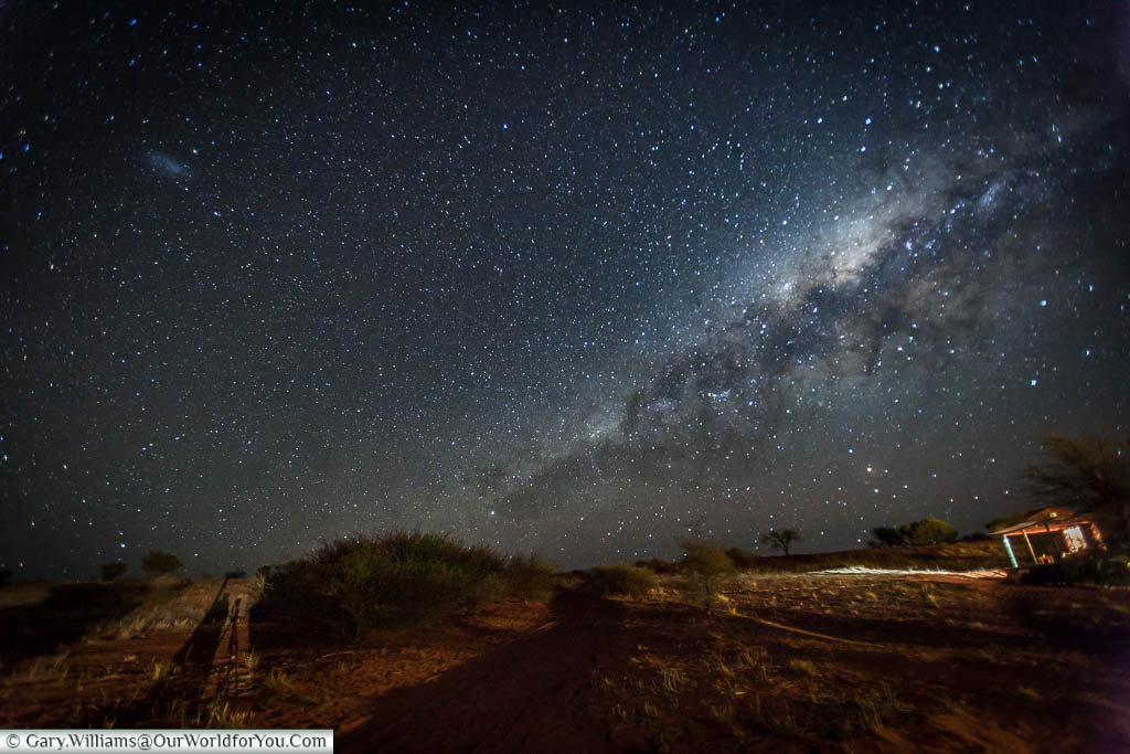 The Milky Way and night sky from our safari lodge at Bagatelle Kalahari Game Ranch, Namibia