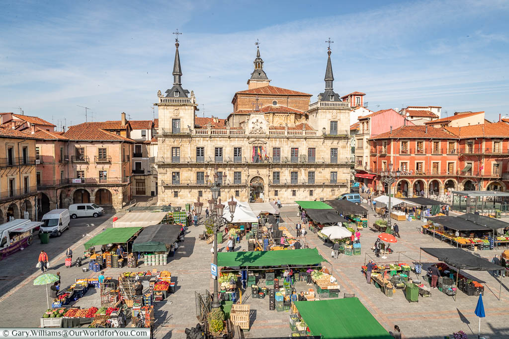 The view of the fresh food market from our hotel room, León, Spain