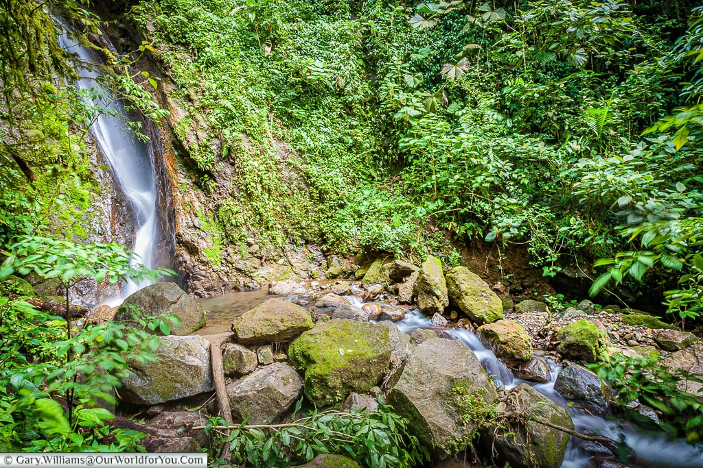 The blur of water dropping between the rocks and lush green vegetation to create a waterfall in the Mistico Arenal Hanging Bridges Park, Arenal, Costa Rica