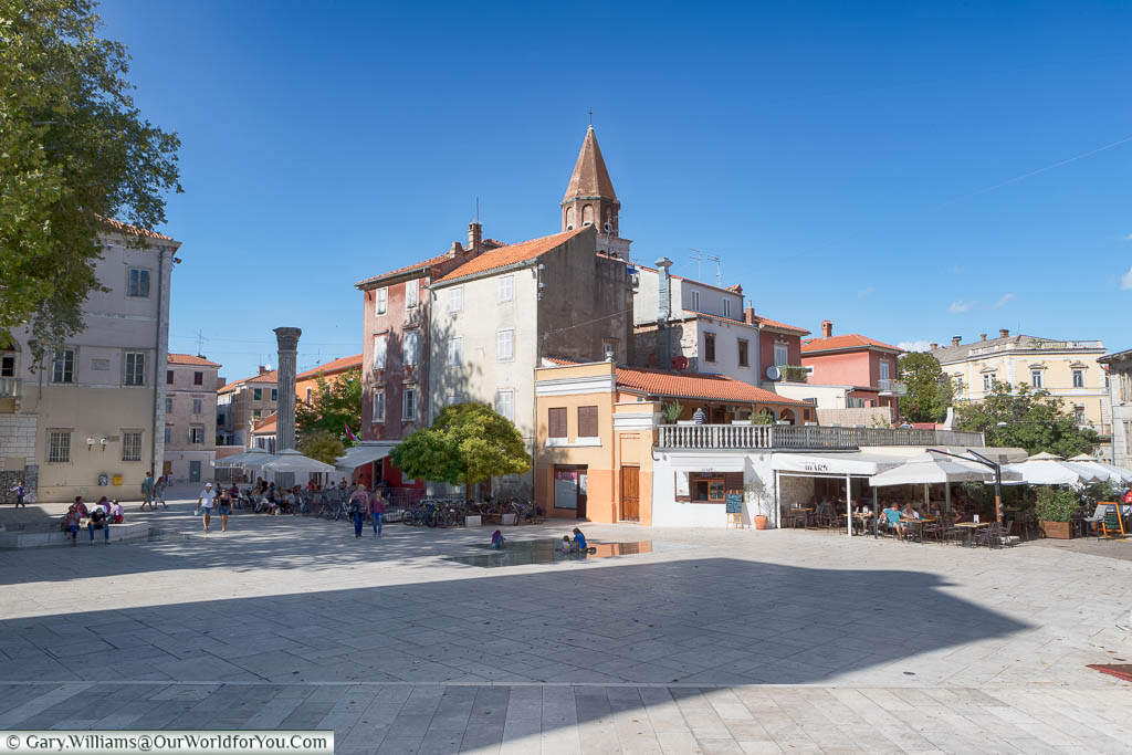 A large open area around Trg Petra Zoranića in the old town of Zadar