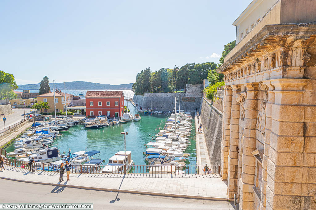 Overlooking the Foša harbour, from the Queen Jelena Madijevka Park, by the Land Gate in Zadar, Croatia