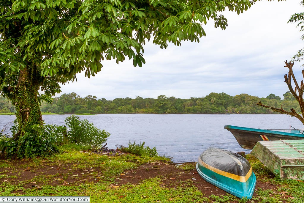 An upturned kayak on the shoreline of Tortuguero lagoon with another boat moored up in the water.  Across the bay is the dense vegetation of the national park.
