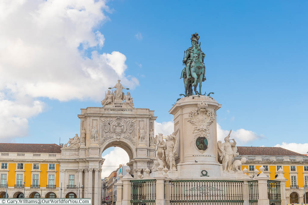 The Statue of King José I of Portugal in the Praça do Comércio in front of the Lisbon Arco Triunfal da Rua in Portugal's capital