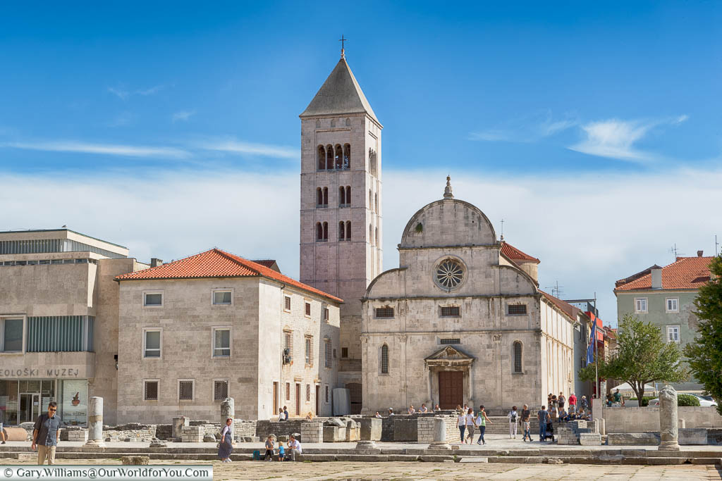 The ruins of the Roman Forum in front of St Mary's Church, Zadar, with just small sections of the stone columns remaining