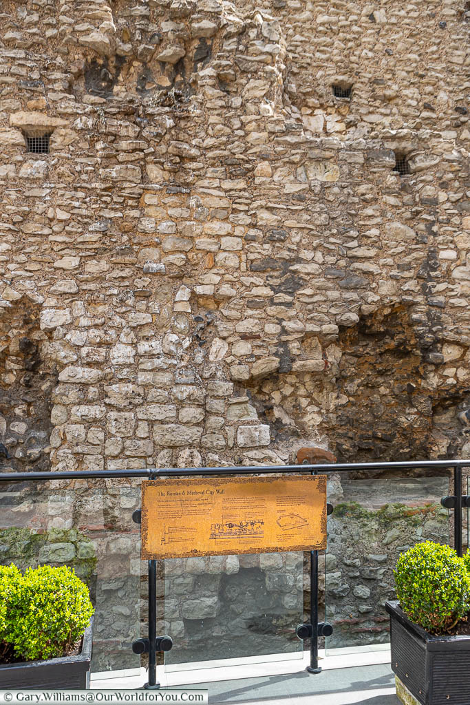 An exposed section of London's Roman & Medieval city wall that used to surround the old city.