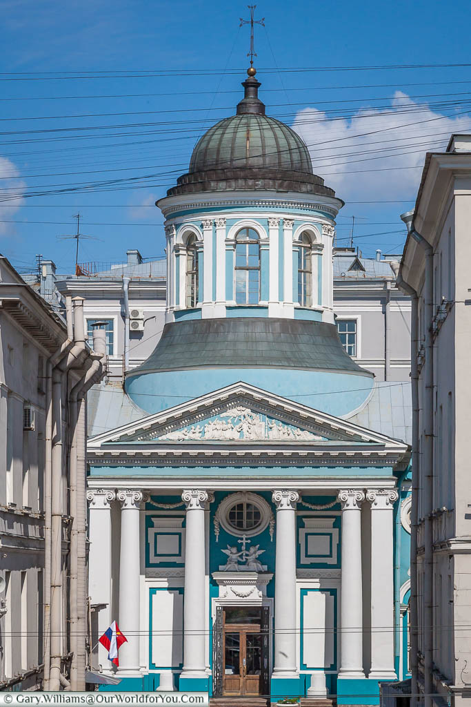 The powder blue and white St Catherine's Armenian church, off the Nevsky Prospekt in Saint Petersburg, Russia