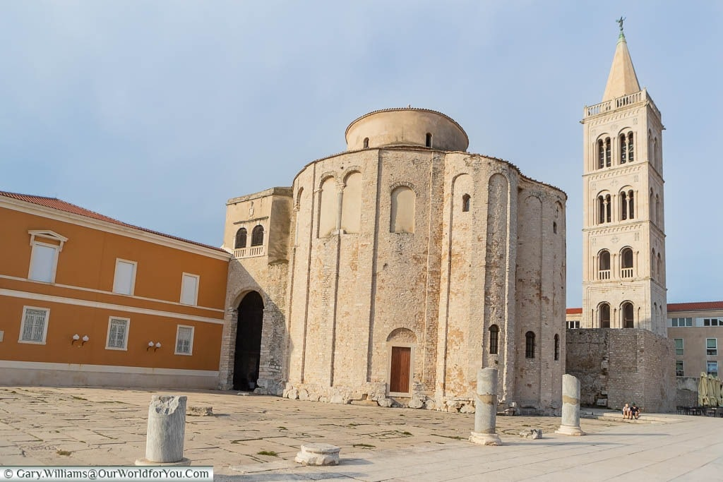 The circular church of St Donatus in Zadar, next to the ruins of the Roman forum, with the Venetian style bell tower in the background.