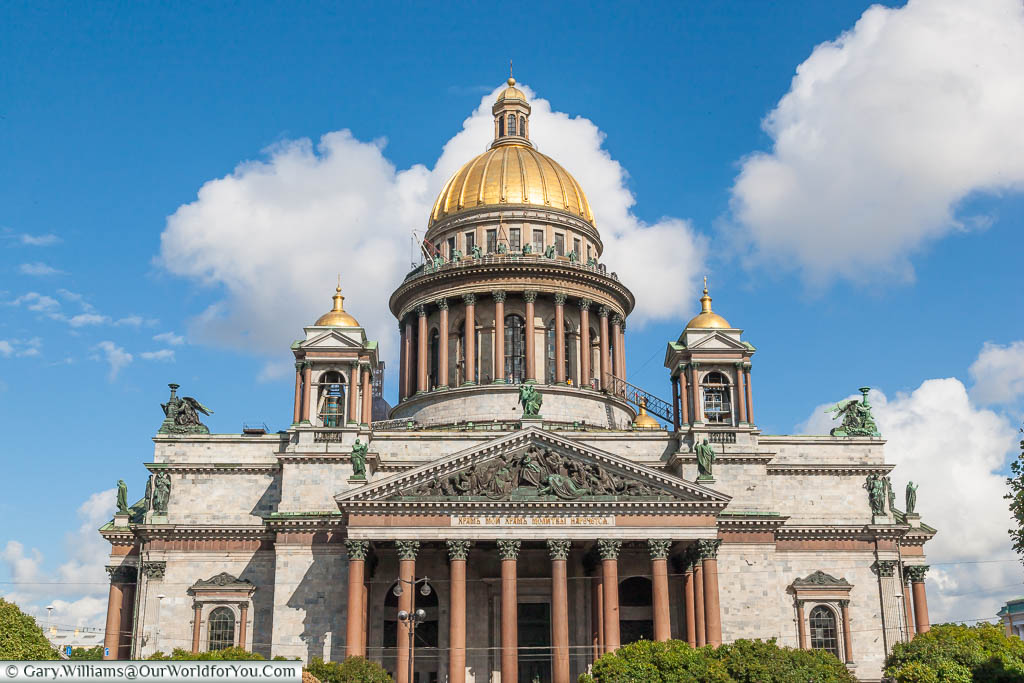 A frontal view of the gold dome topped Saint Issac's Cathedral in Saint Petersburg, Russia