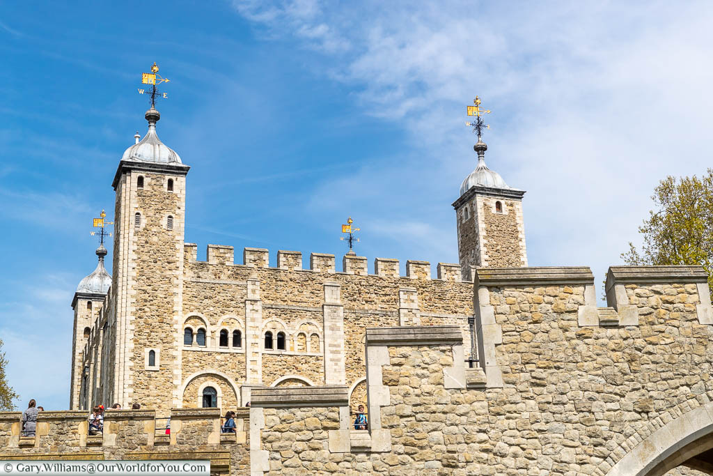 Looking up at the White Tower in the Tower of London from Birdcage Walk, a few minutes walk from Tower Hill tube.