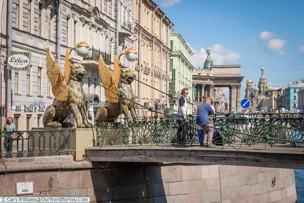 The Golden-Winged Griffins that flank either end of the Bank Bridge over the Moyka River, Saint Petersburg, Russia