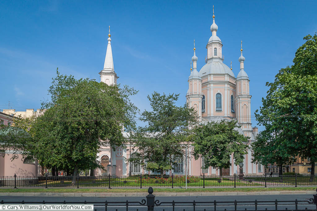 The pale pink & white cathedral of St Andrew in Saint Petersburg, Russia