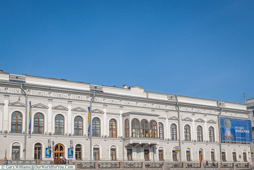 The elegant white Faberge Museum on the banks of the Fontanka River, Saint Petersburg, Russia