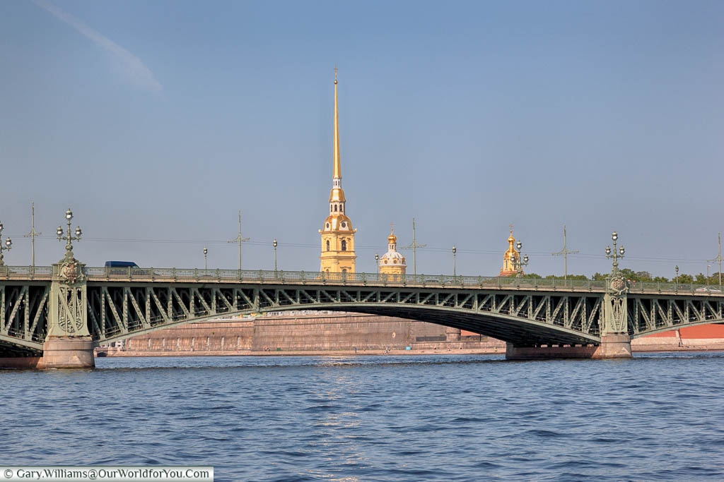 The Trinity Bridge over the Neva River, with the spire of St Peter & Paul's Cathedral in the background, Saint Petersburg, Russia