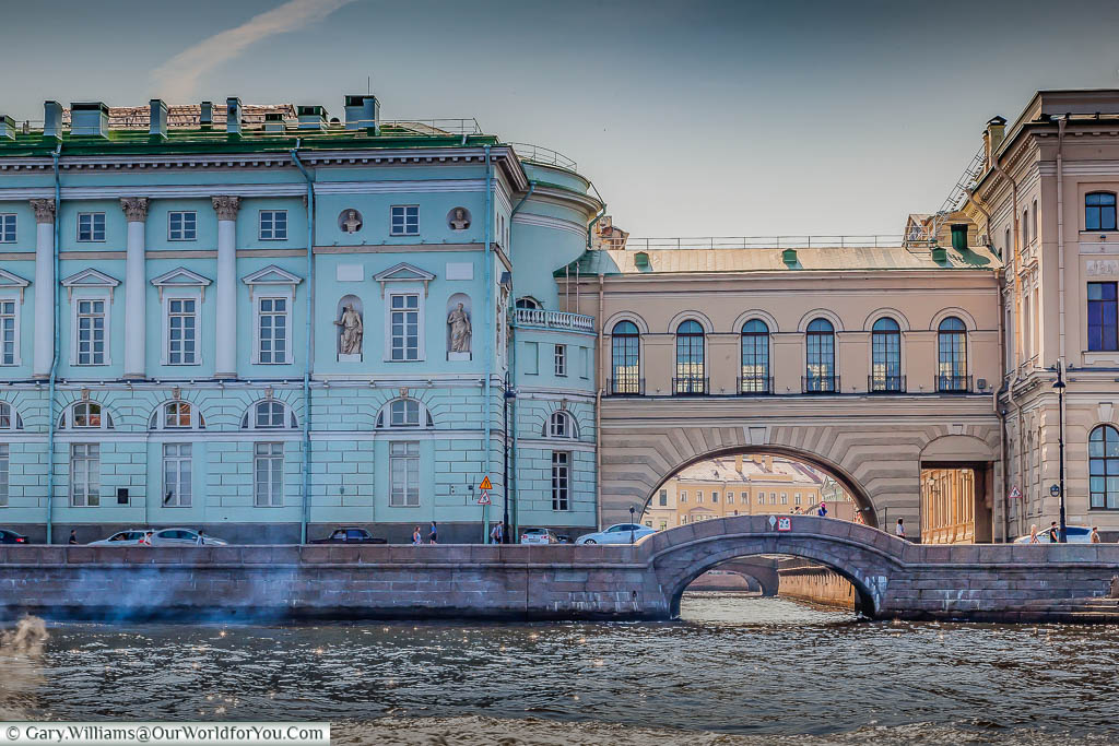 A view along the Winter canal from the Neva River, Saint Petersburg, Russia