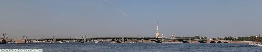 A panoramic shot of the full span of the Trinity Bridge, Saint Petersburg, Russia