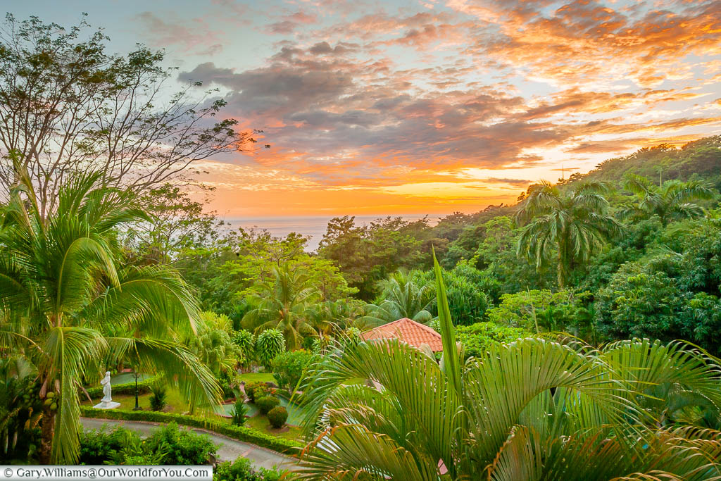 Golden orange tones of the sunset, set against the lush green vegetation at from our room at the Hotel Parador, Manuel Antonio, Costa Rica