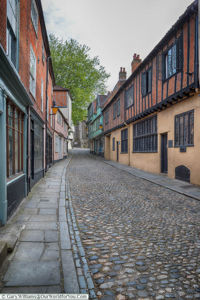 Elm Hill, a cobbled street in the Tombland district of Norwich