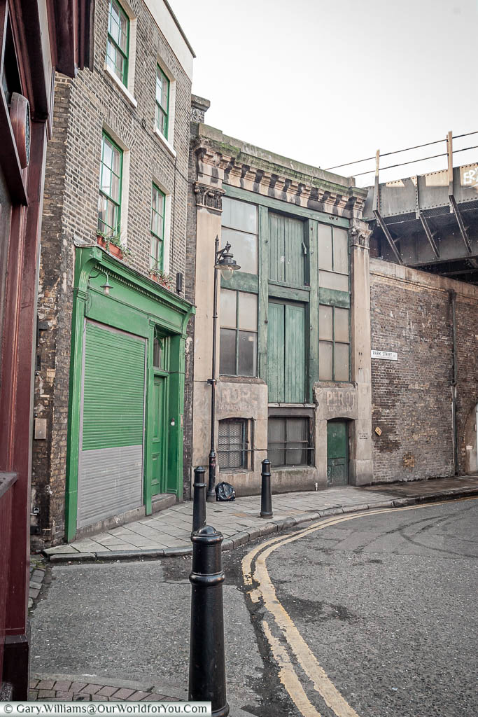 A derelict part of London, just off Borough Market, famous as the boys' lair in Lock, Stock & Two Smoking Barrels.