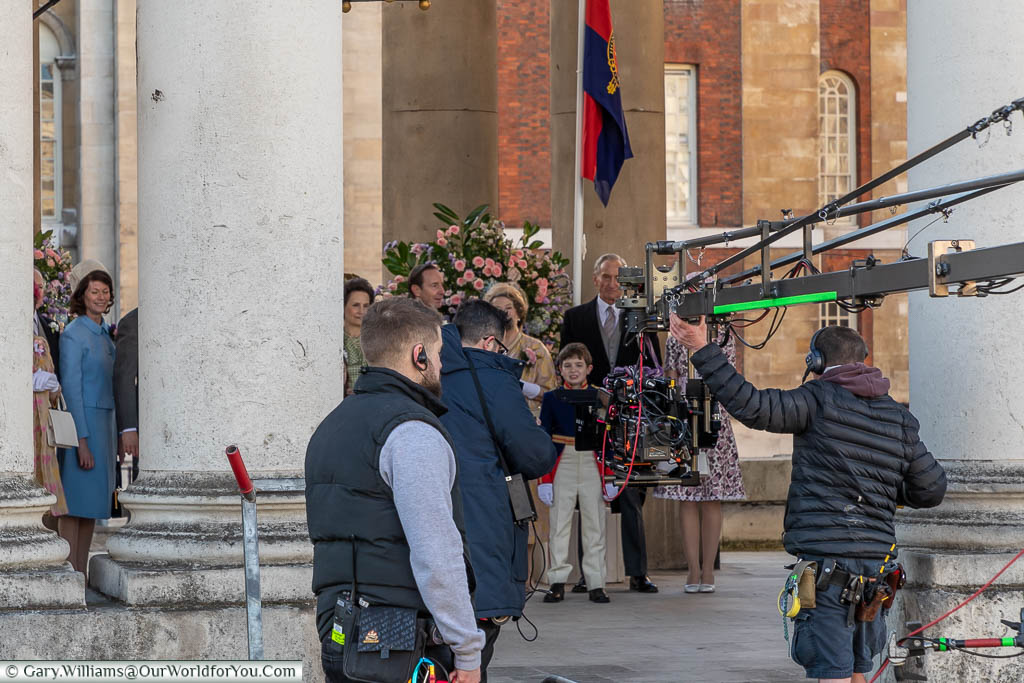 The filming of a period scene, featuring Charles Dance, at the Royal Naval College in Greenwich, London