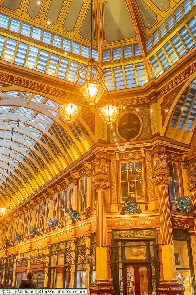 The ornate ironwork & glass at the centre of Leadenhall Market which has featured in a few movies over the years