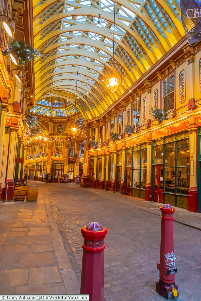 A view down Leadenhall Market which doubles as Daigon Alley in Harry Potter and the Philosopher's Stone.