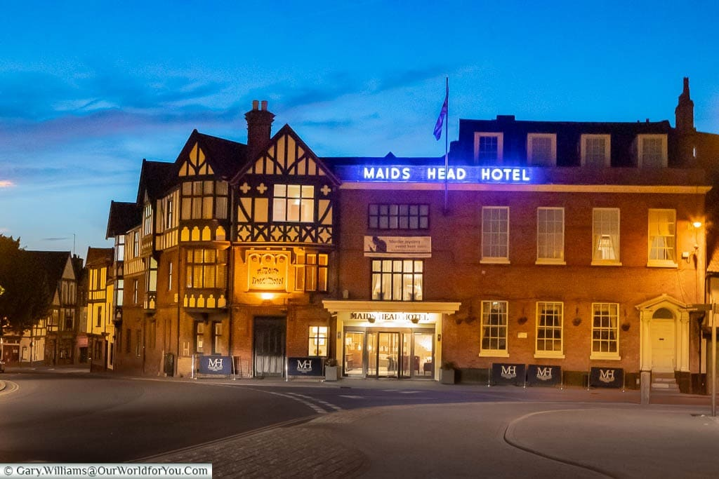 The Maids Head Hotel in Norwich just after dusk.