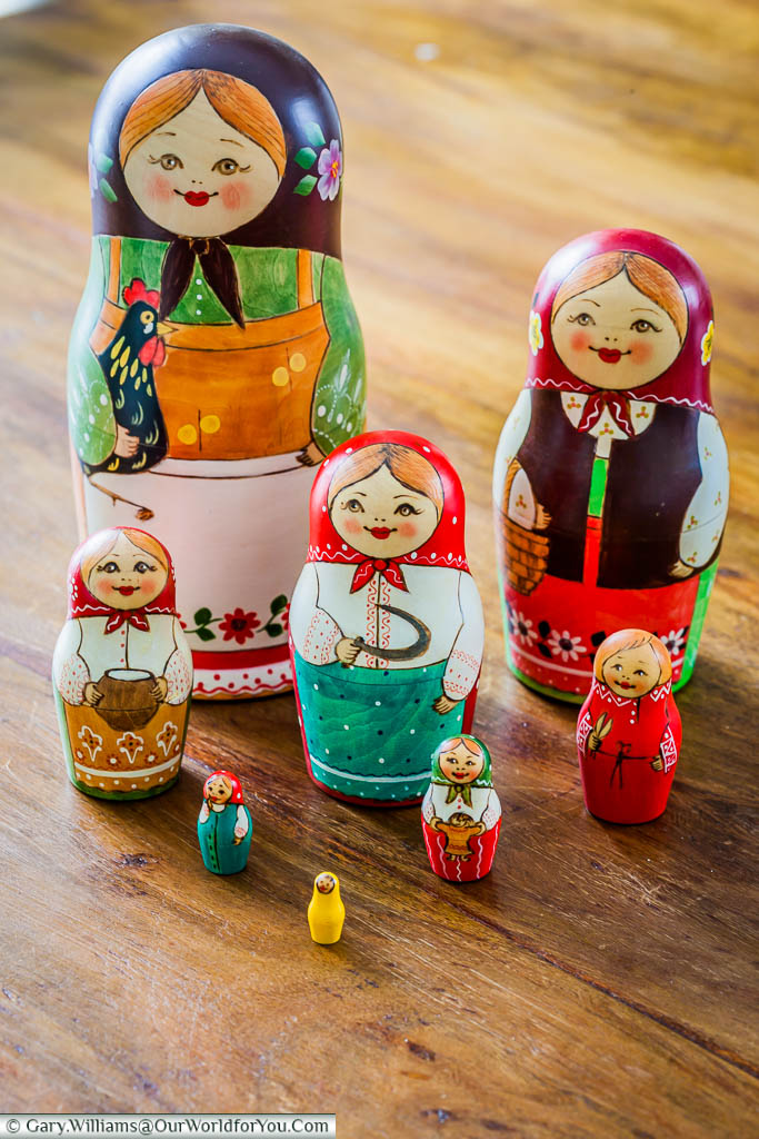 My set of Matryoshka Dolls, or Russian Dolls that I brought back from Saint Petersburg, Russia.  The set of eight stacking figures is all-female.