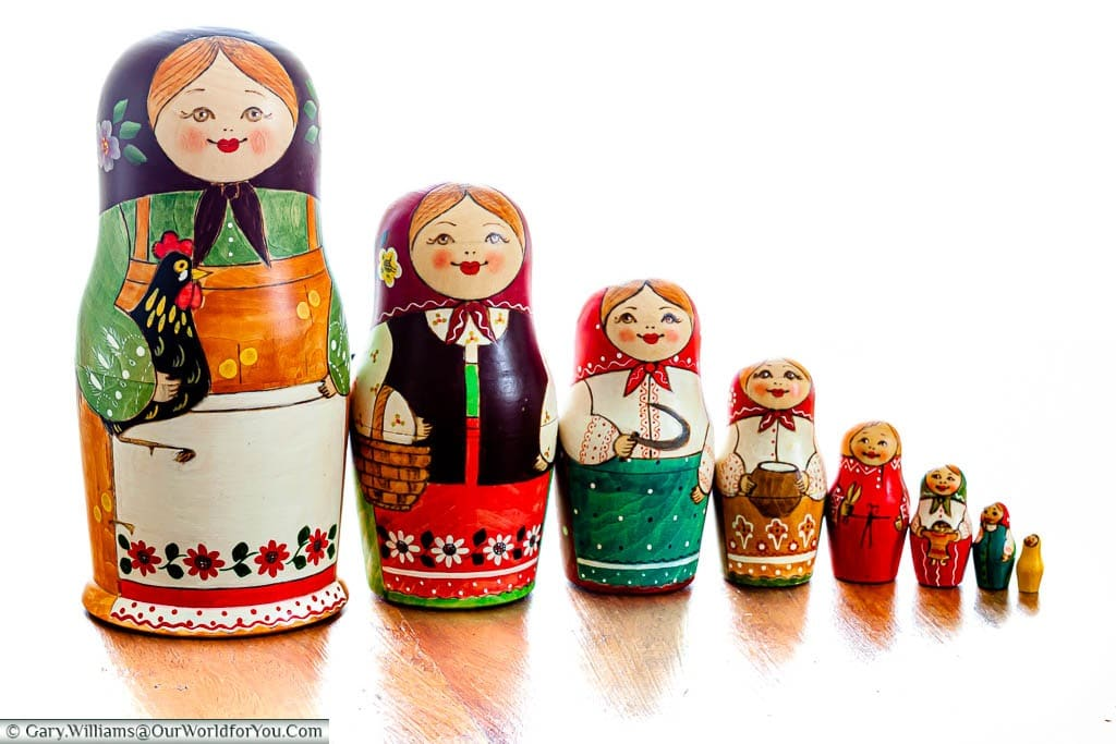 A set of 8 female Russian Dolls I bought in Saint Petersburg, Russia