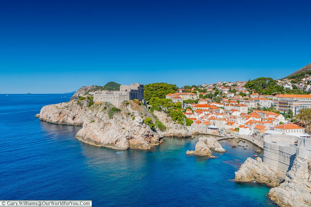 The Lovrijenac fortress, nestled above the Adriatic sea from the city walls of Dubrovnik
