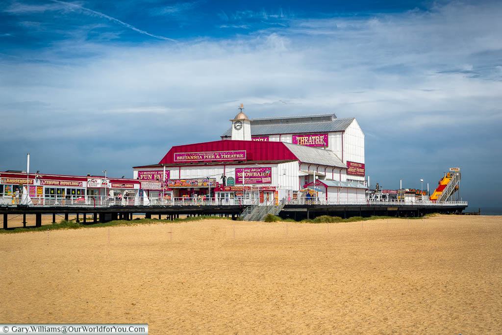 The Britannia Pier, Great Yarmouth, with the golden sands in the foreground.