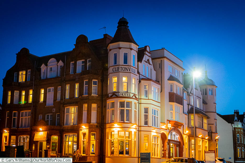 The Cliftonville Hotel in Cromer at night.