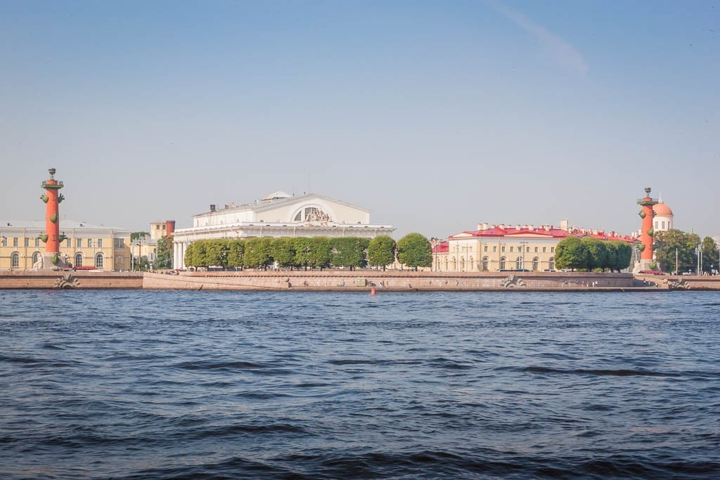 The Old Stock Exchange & both Rostrum Pillars as seen from the River Neva in Saint Petersburg, Russia