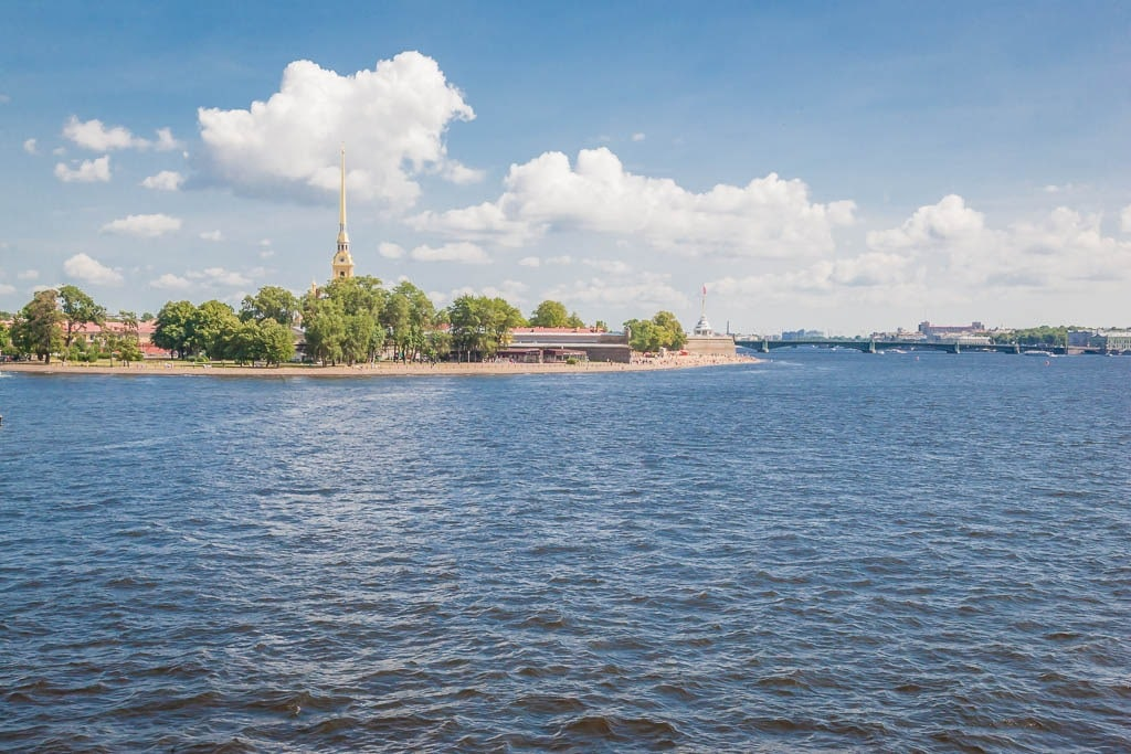 The Neva River looking towards Peter and Paul Fortress & the Trinity bridge in Saint Petersburg, Russia