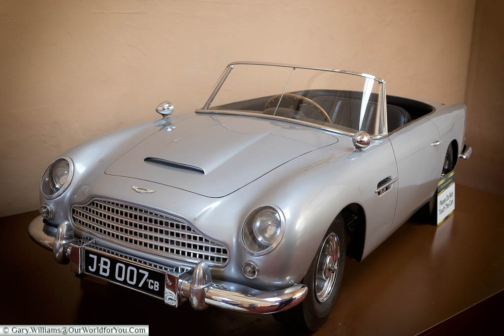 A model of an Aston Martin DB5 convertible in the Sandringham Museum