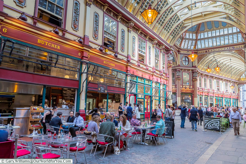A bustling Leadenhall Market, close to Bank Station, at a weekday lunchtime.